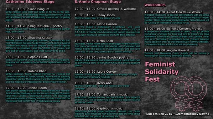 Feminist solidarity fest program